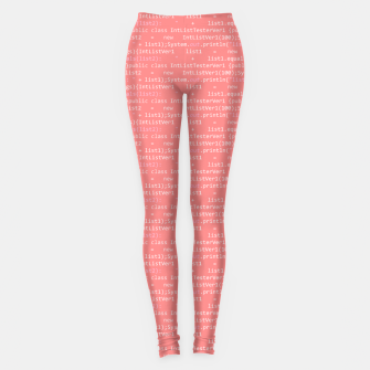 Computer Software Code Pattern in Pink Coral  Leggings thumbnail image