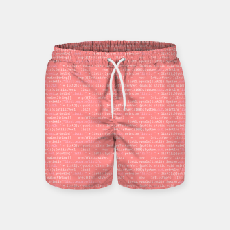 Thumbnail image of Computer Software Code Pattern in Pink Coral  Swim Shorts, Live Heroes