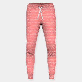 Thumbnail image of Computer Software Code Pattern in Pink Coral  Sweatpants, Live Heroes