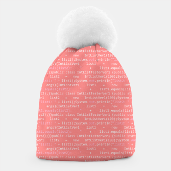 Thumbnail image of Computer Software Code Pattern in Pink Coral  Beanie, Live Heroes