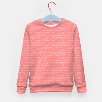 Thumbnail image of Computer Software Code Pattern in Pink Coral  Kid's sweater, Live Heroes