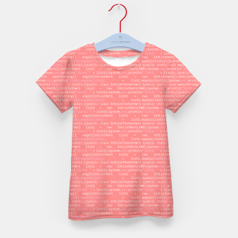 Thumbnail image of Computer Software Code Pattern in Pink Coral  Kid's t-shirt, Live Heroes
