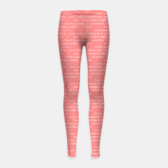 Thumbnail image of Computer Software Code Pattern in Pink Coral  Girl's leggings, Live Heroes