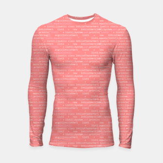 Thumbnail image of Computer Software Code Pattern in Pink Coral  Longsleeve rashguard , Live Heroes