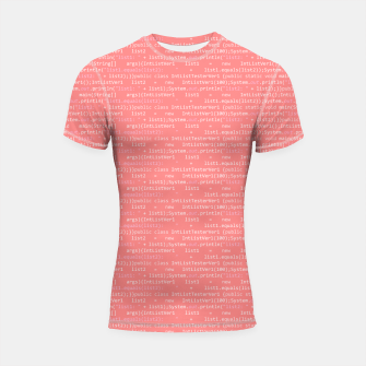 Thumbnail image of Computer Software Code Pattern in Pink Coral  Shortsleeve rashguard, Live Heroes