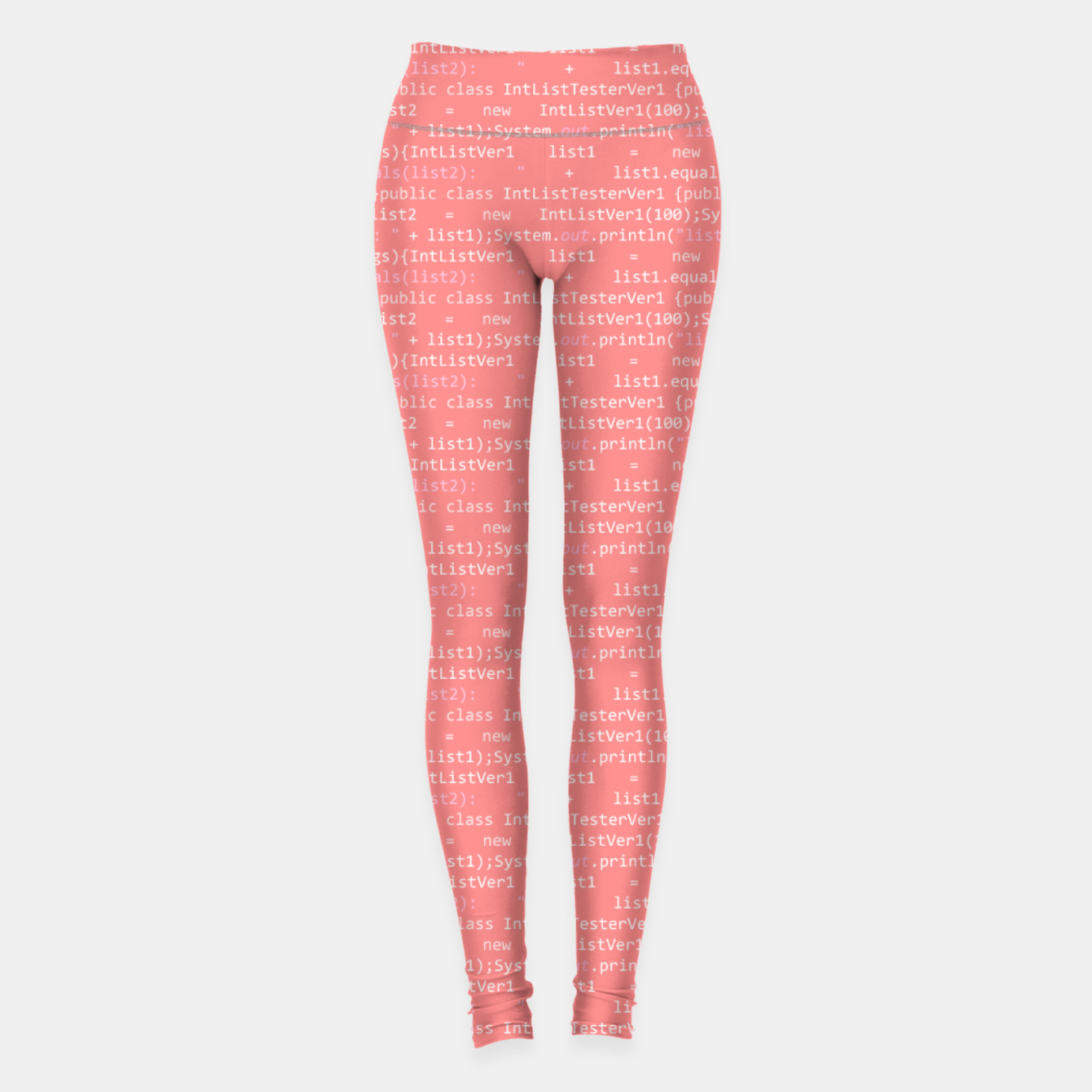 Image of Computer Software Code Pattern in Pink Coral  Leggings - Live Heroes