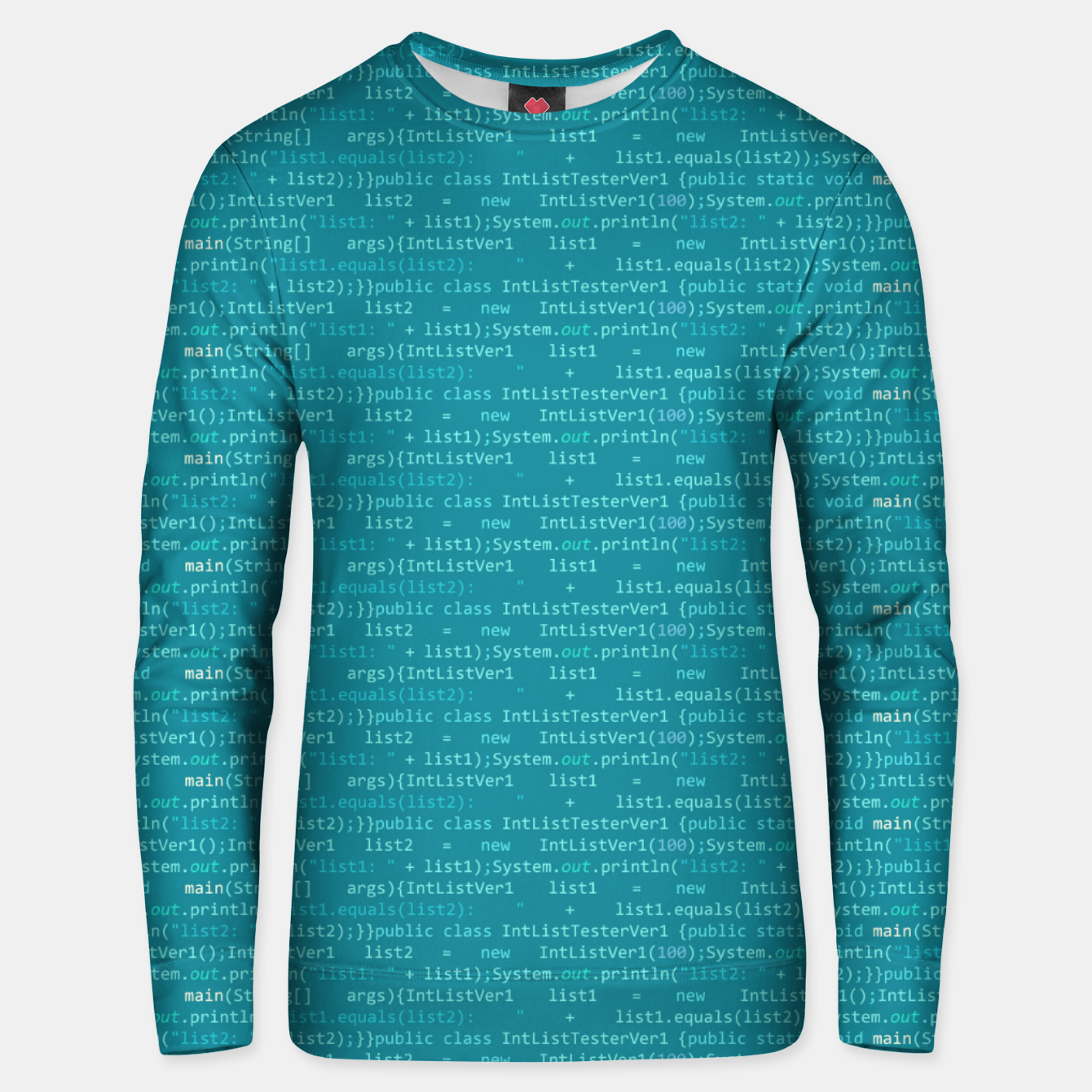 Image of Computer Software Code Pattern in Fresh Blue Teal Unisex sweater - Live Heroes