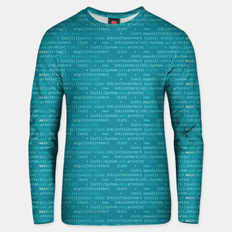 Thumbnail image of Computer Software Code Pattern in Fresh Blue Teal Unisex sweater, Live Heroes