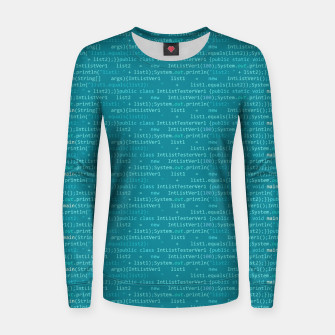 Thumbnail image of Computer Software Code Pattern in Fresh Blue Teal Women sweater, Live Heroes