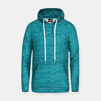 Thumbnail image of Computer Software Code Pattern in Fresh Blue Teal Hoodie, Live Heroes
