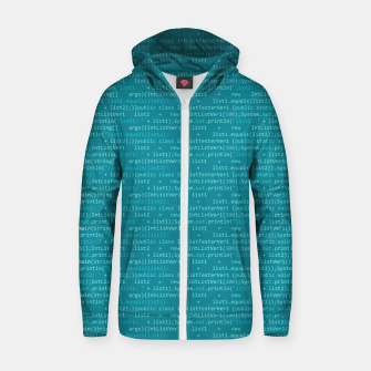 Thumbnail image of Computer Software Code Pattern in Fresh Blue Teal Zip up hoodie, Live Heroes