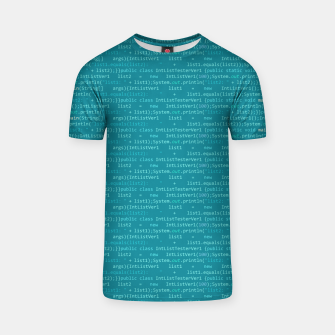 Thumbnail image of Computer Software Code Pattern in Fresh Blue Teal T-shirt, Live Heroes