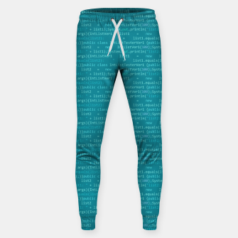 Thumbnail image of Computer Software Code Pattern in Fresh Blue Teal Sweatpants, Live Heroes