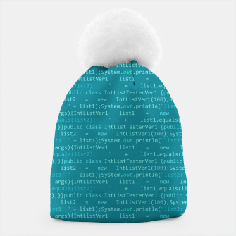 Thumbnail image of Computer Software Code Pattern in Fresh Blue Teal Beanie, Live Heroes