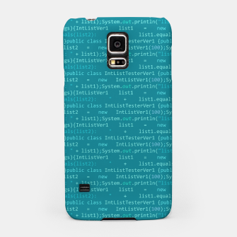 Thumbnail image of Computer Software Code Pattern in Fresh Blue Teal Samsung Case, Live Heroes