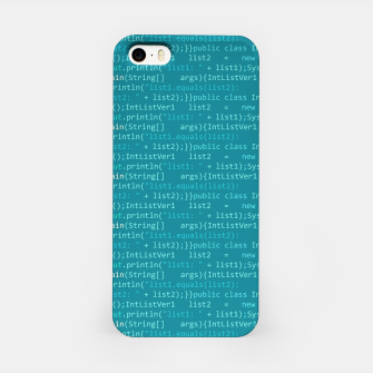 Thumbnail image of Computer Software Code Pattern in Fresh Blue Teal iPhone Case, Live Heroes