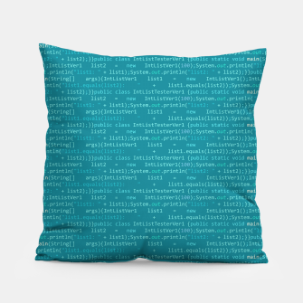 Thumbnail image of Computer Software Code Pattern in Fresh Blue Teal Pillow, Live Heroes