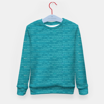 Thumbnail image of Computer Software Code Pattern in Fresh Blue Teal Kid's sweater, Live Heroes