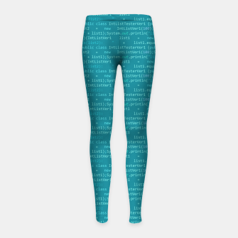 Thumbnail image of Computer Software Code Pattern in Fresh Blue Teal Girl's leggings, Live Heroes