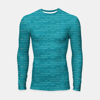 Thumbnail image of Computer Software Code Pattern in Fresh Blue Teal Longsleeve rashguard , Live Heroes