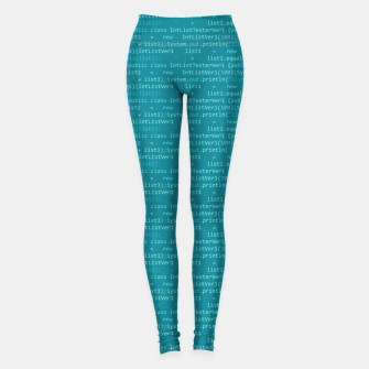 Thumbnail image of Computer Software Code Pattern in Fresh Blue Teal Leggings, Live Heroes