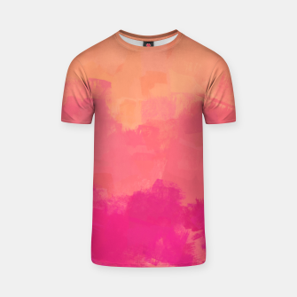 Miniatur Modern Abstract Colorful Explosion in Peachy Salmon, Pink Coral and Bright Fuchsia Colors, Paint Stripes T-shirt, Live Heroes