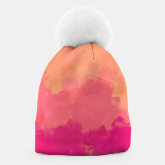 Miniatur Modern Abstract Colorful Explosion in Peachy Salmon, Pink Coral and Bright Fuchsia Colors, Paint Stripes Beanie, Live Heroes