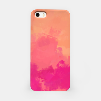 Miniatur Modern Abstract Colorful Explosion in Peachy Salmon, Pink Coral and Bright Fuchsia Colors, Paint Stripes iPhone Case, Live Heroes