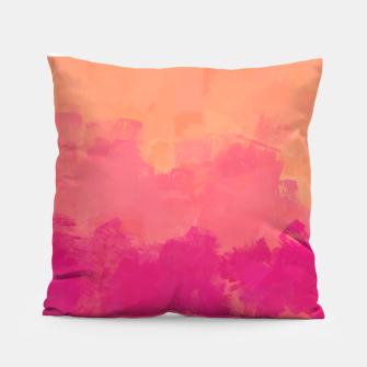 Miniatur Modern Abstract Colorful Explosion in Peachy Salmon, Pink Coral and Bright Fuchsia Colors, Paint Stripes Pillow, Live Heroes