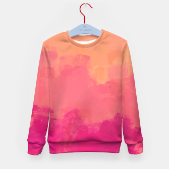 Miniatur Modern Abstract Colorful Explosion in Peachy Salmon, Pink Coral and Bright Fuchsia Colors, Paint Stripes Kid's sweater, Live Heroes