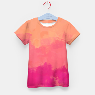 Miniatur Modern Abstract Colorful Explosion in Peachy Salmon, Pink Coral and Bright Fuchsia Colors, Paint Stripes Kid's t-shirt, Live Heroes