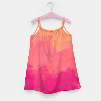 Miniatur Modern Abstract Colorful Explosion in Peachy Salmon, Pink Coral and Bright Fuchsia Colors, Paint Stripes Girl's dress, Live Heroes