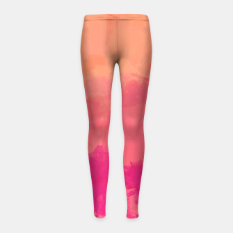 Miniatur Modern Abstract Colorful Explosion in Peachy Salmon, Pink Coral and Bright Fuchsia Colors, Paint Stripes Girl's leggings, Live Heroes