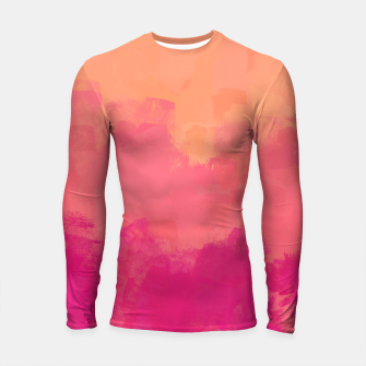 Miniatur Modern Abstract Colorful Explosion in Peachy Salmon, Pink Coral and Bright Fuchsia Colors, Paint Stripes Longsleeve rashguard , Live Heroes