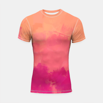 Miniatur Modern Abstract Colorful Explosion in Peachy Salmon, Pink Coral and Bright Fuchsia Colors, Paint Stripes Shortsleeve rashguard, Live Heroes