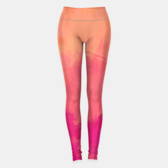 Miniatur Modern Abstract Colorful Explosion in Peachy Salmon, Pink Coral and Bright Fuchsia Colors, Paint Stripes Leggings, Live Heroes