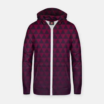 Thumbnail image of Purple Triangles, Geometric Design in Dark Red and Purple Ombre Gradient  Zip up hoodie, Live Heroes