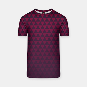 Thumbnail image of Purple Triangles, Geometric Design in Dark Red and Purple Ombre Gradient  T-shirt, Live Heroes