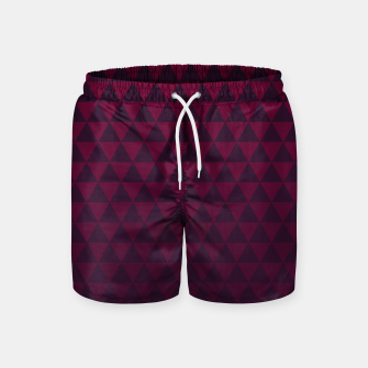 Thumbnail image of Purple Triangles, Geometric Design in Dark Red and Purple Ombre Gradient  Swim Shorts, Live Heroes