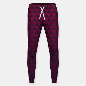 Miniaturka Purple Triangles, Geometric Design in Dark Red and Purple Ombre Gradient  Sweatpants, Live Heroes