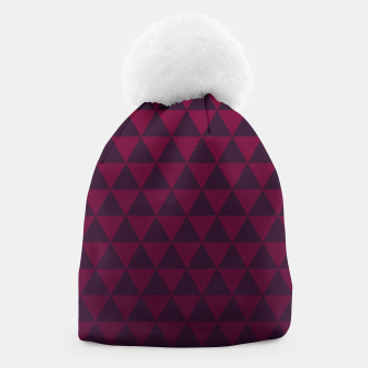 Miniaturka Purple Triangles, Geometric Design in Dark Red and Purple Ombre Gradient  Beanie, Live Heroes