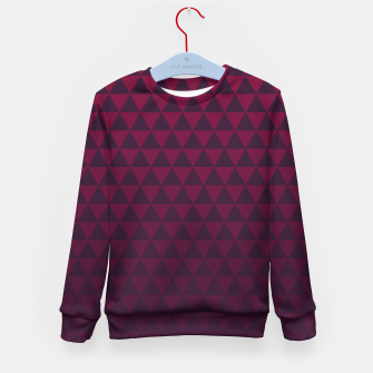 Miniaturka Purple Triangles, Geometric Design in Dark Red and Purple Ombre Gradient  Kid's sweater, Live Heroes
