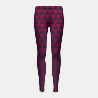 Thumbnail image of Purple Triangles, Geometric Design in Dark Red and Purple Ombre Gradient  Girl's leggings, Live Heroes