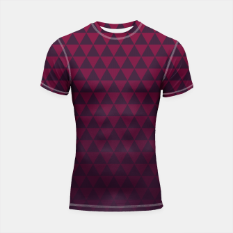 Thumbnail image of Purple Triangles, Geometric Design in Dark Red and Purple Ombre Gradient  Shortsleeve rashguard, Live Heroes