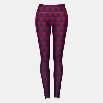 Miniaturka Purple Triangles, Geometric Design in Dark Red and Purple Ombre Gradient  Leggings, Live Heroes