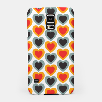 Thumbnail image of Mid-century Modern Hearts in Red, Orange, Black and Dark Blue Samsung Case, Live Heroes