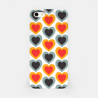 Thumbnail image of Mid-century Modern Hearts in Red, Orange, Black and Dark Blue iPhone Case, Live Heroes