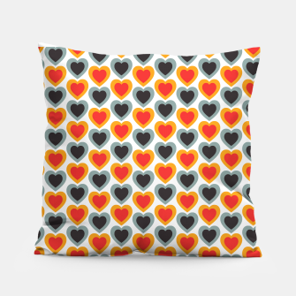 Thumbnail image of Mid-century Modern Hearts in Red, Orange, Black and Dark Blue Pillow, Live Heroes