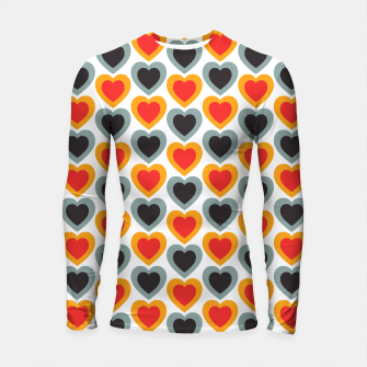 Thumbnail image of Mid-century Modern Hearts in Red, Orange, Black and Dark Blue Longsleeve rashguard , Live Heroes