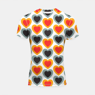 Thumbnail image of Mid-century Modern Hearts in Red, Orange, Black and Dark Blue Shortsleeve rashguard, Live Heroes